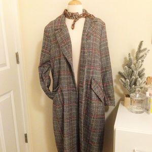 New- Long Wool Fall/Winter Plaid Blazer Coat